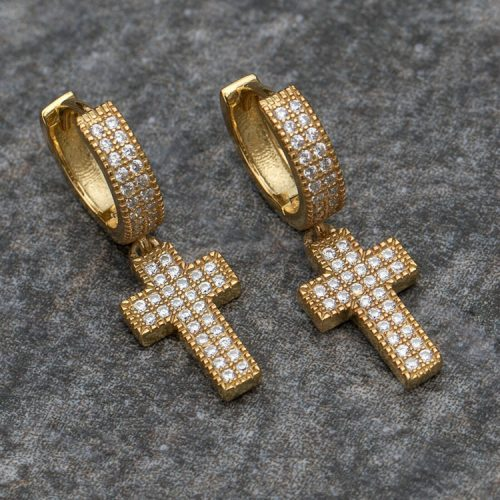 Diamond Cross Hoop Earrings (Pair) 7