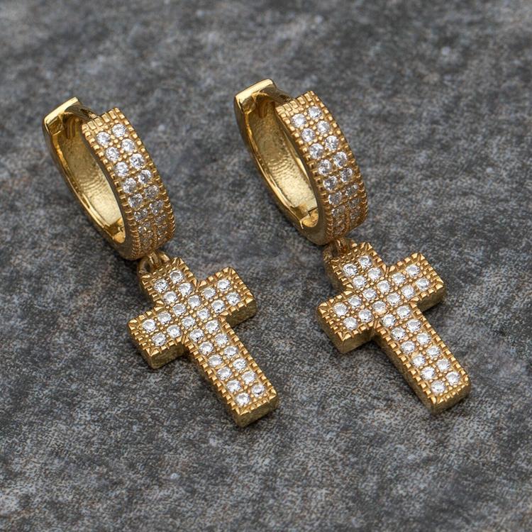 Diamond Cross Hoop Earrings (Pair) 3