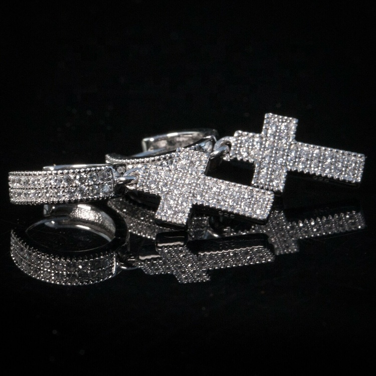 Diamond Cross Hoop Earrings (Pair) 1
