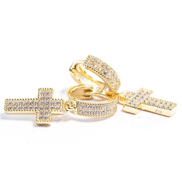 Diamond Cross Hoop Earrings (Pair) 4