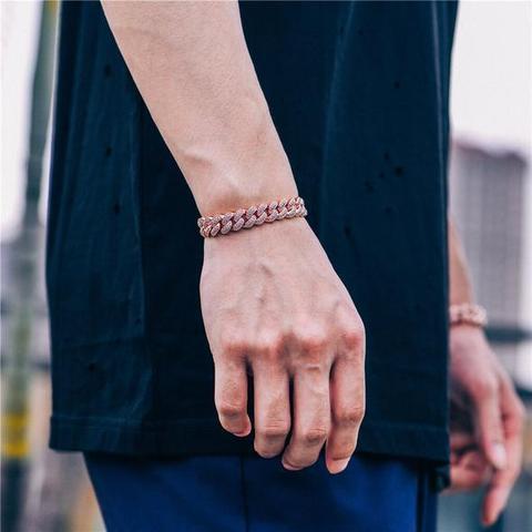 12mm Iced Cuban Link Bracelet in Rose Gold 2