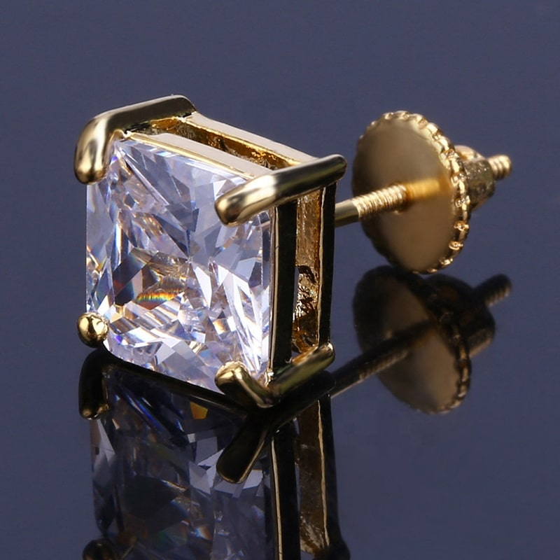 Square Cut Diamond Earrings (Pair) 3
