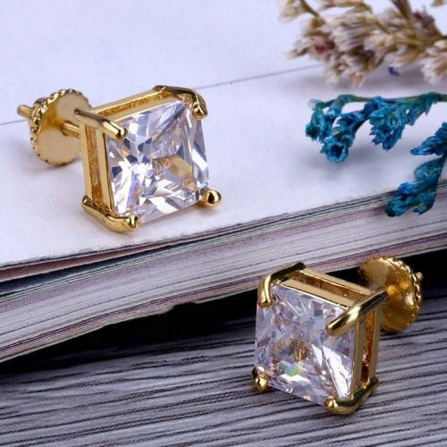 Square Cut Diamond Earrings (Pair) 4