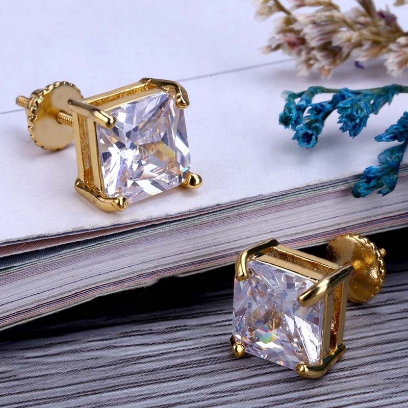 Square Cut Diamond Earrings (Pair) 2