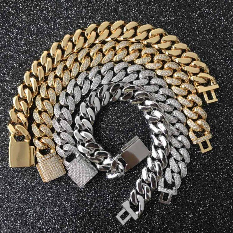 12mm Iced Cuban Bracelet in 18K Yellow Gold 1