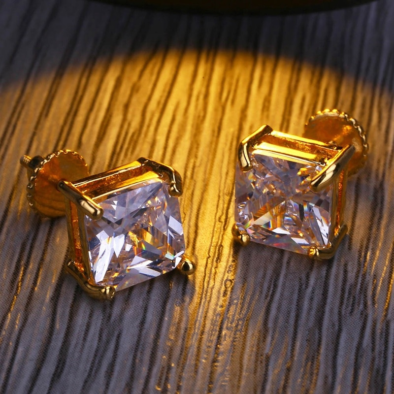 Square Cut Diamond Earrings (Pair) 1