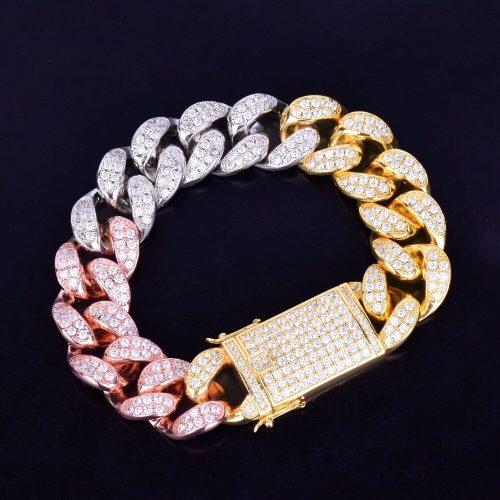 19mm Tri-Colored Iced Cuban Link Bracelet