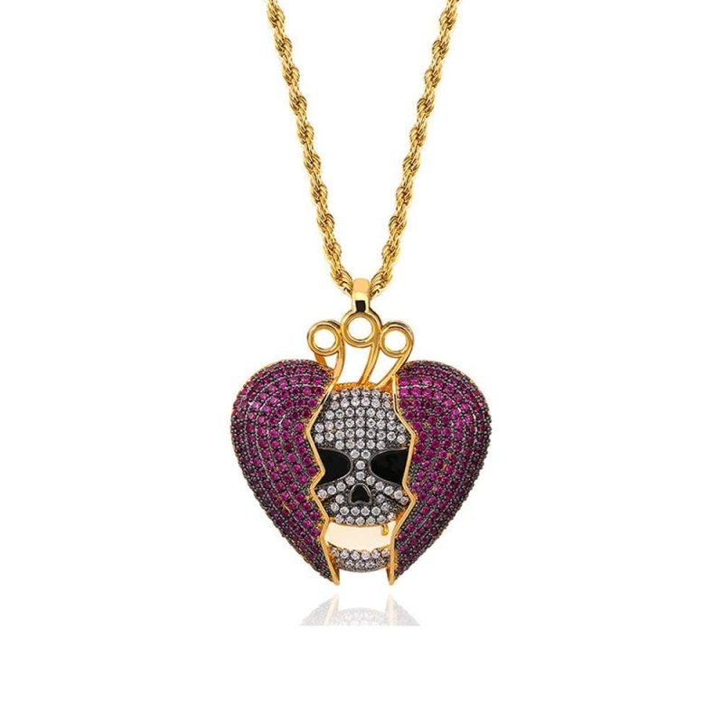 Ice Out Gold Broken Heart Skull Pendant Necklace 821 2000x
