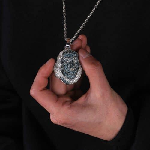 JINAO New ICED OUT Franklin Famous figure Pendant Necklace Cubic zircon Stones Hip Hop Men Women.jpg q50 1
