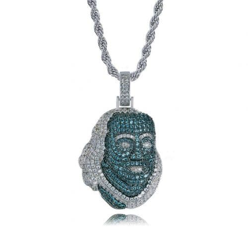 Blueface Inspired Iced Out Franklin Pendant 9