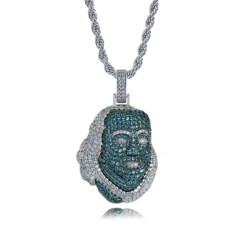 Blueface Inspired Iced Out Franklin Pendant 4