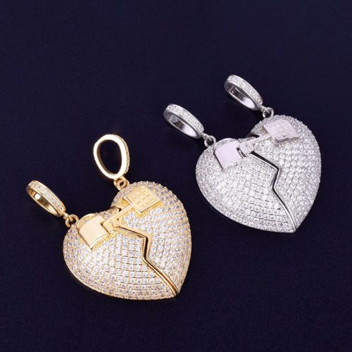 Missfox The New Couple Love Lock Broken Love Pendant Necklace Gold Zircon Copper Jewelry Hip Hop 1