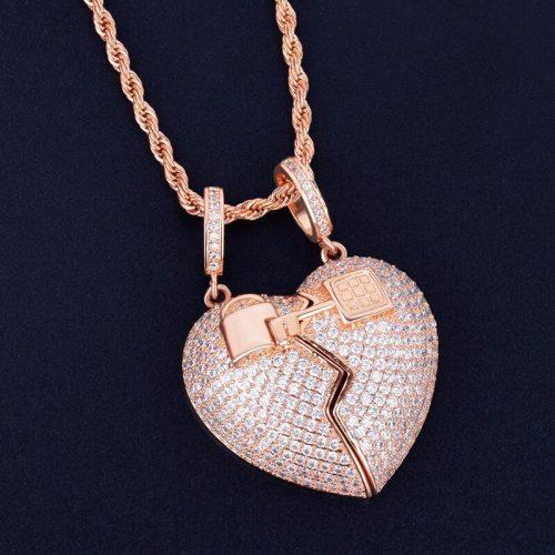 Missfox The New Couple Love Lock Broken Love Pendant Necklace Gold Zircon Copper Jewelry Hip Hop 2
