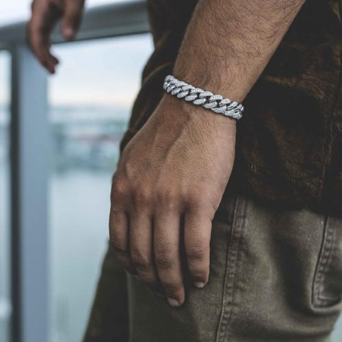 15mm White Gold Iced Cuban Bracelet 7