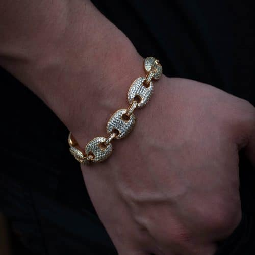 Iced Gucci Link Bracelet - 18k Yellow Gold 3