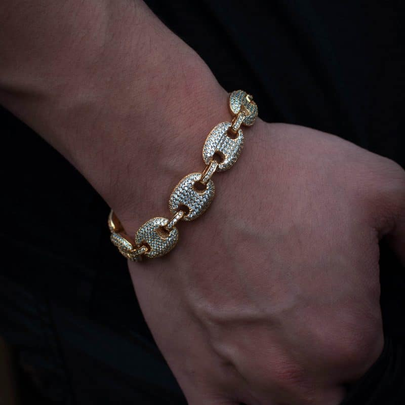 Iced Gucci Link Bracelet - 18k Yellow Gold 2