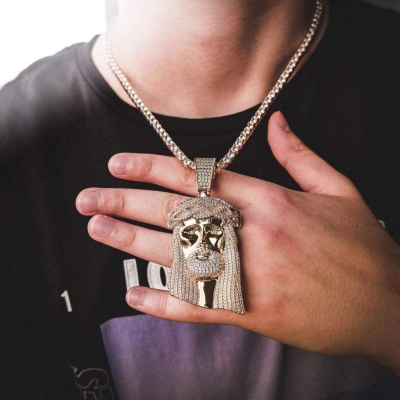 big jesus piece necklace in 18k gold 6 ice 155