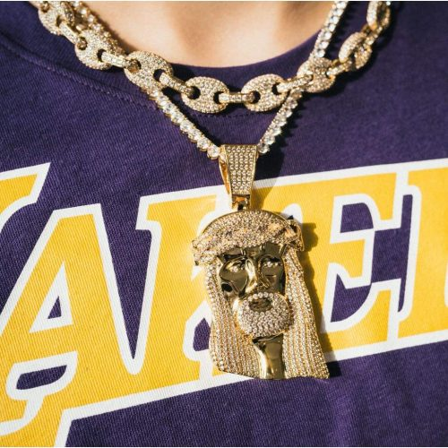 Giant Jesus Pendant Necklace in 18k Gold 7