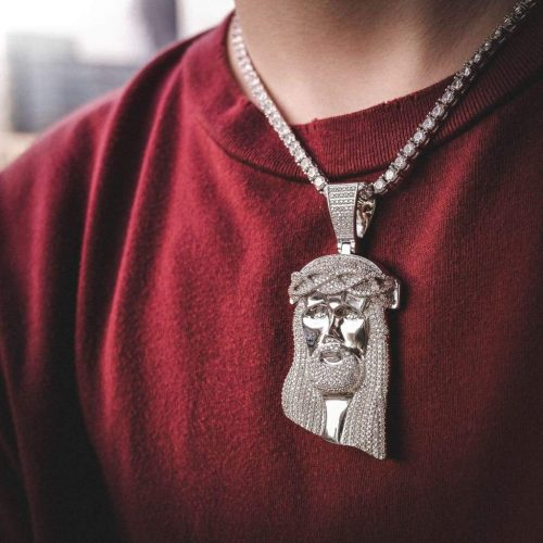 Giant Jesus Pendant Necklace in White Gold 10