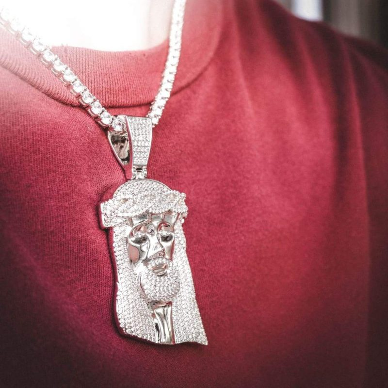 Giant Jesus Pendant Necklace in White Gold 6