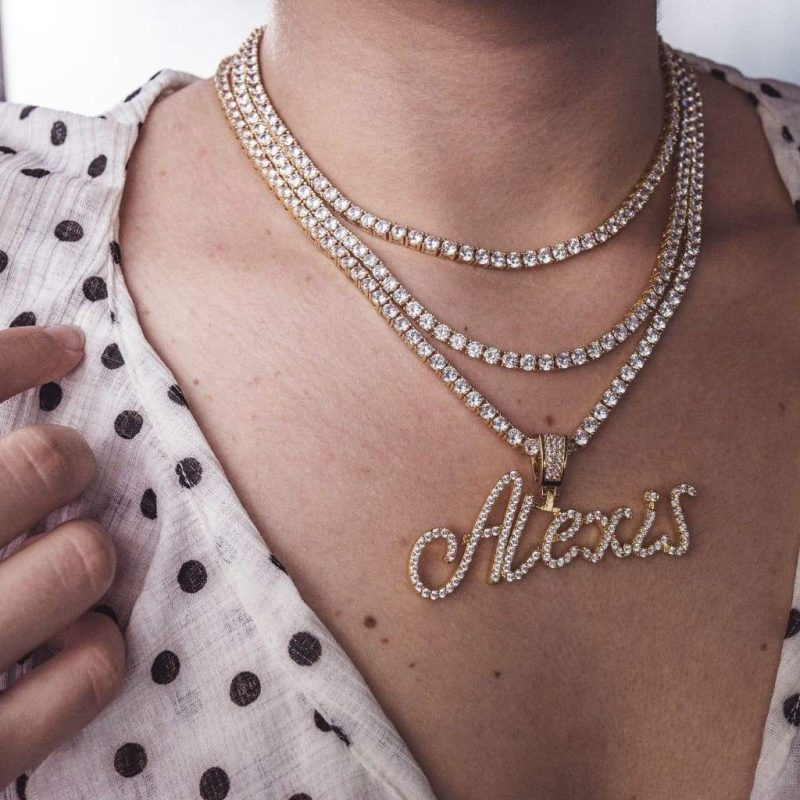 Diamond Handwriting Custom Name Pendant 3