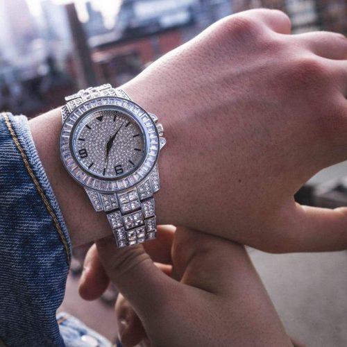 diamond baguette watch white gold 6ix ice 6 332