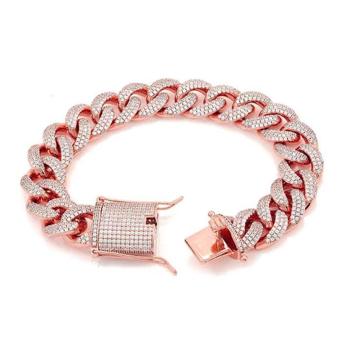 12mm Iced Cuban Link Bracelet in Rose Gold 1