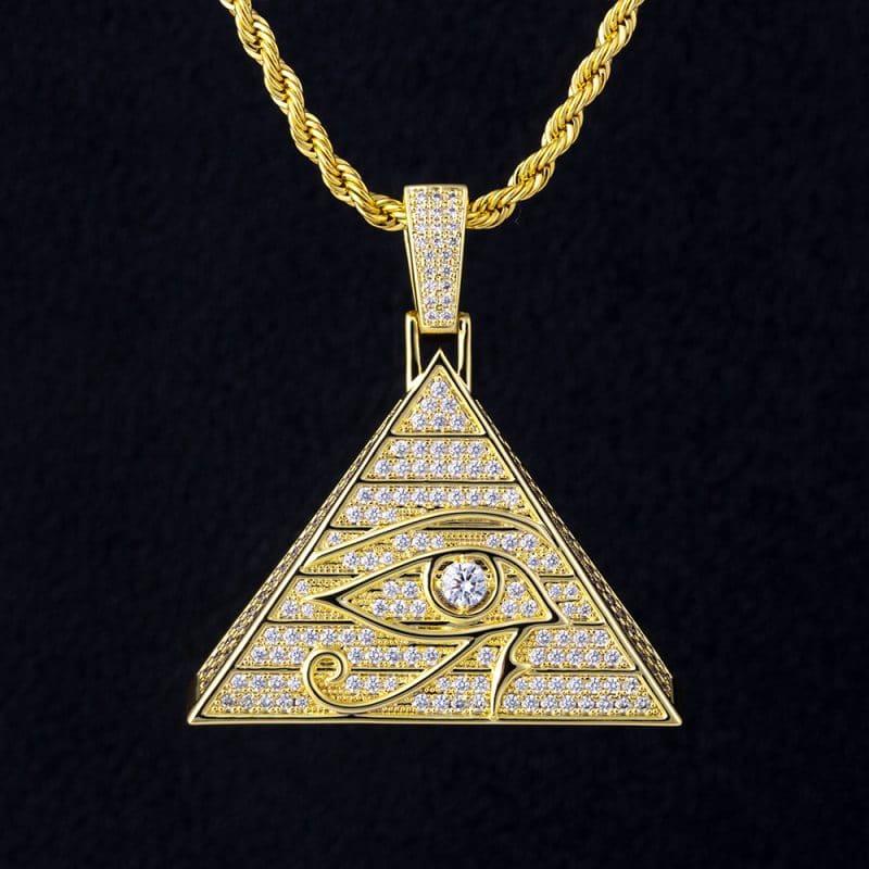 Eye of Horus Bling Pendant in 14k Gold 1