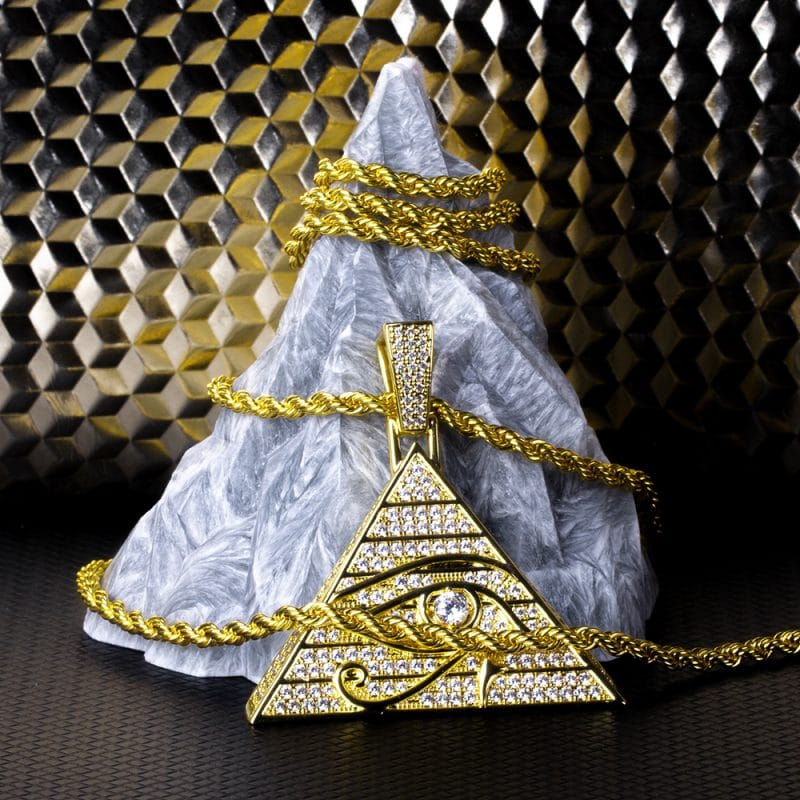 Eye of Horus Bling Pendant in 14k Gold 2