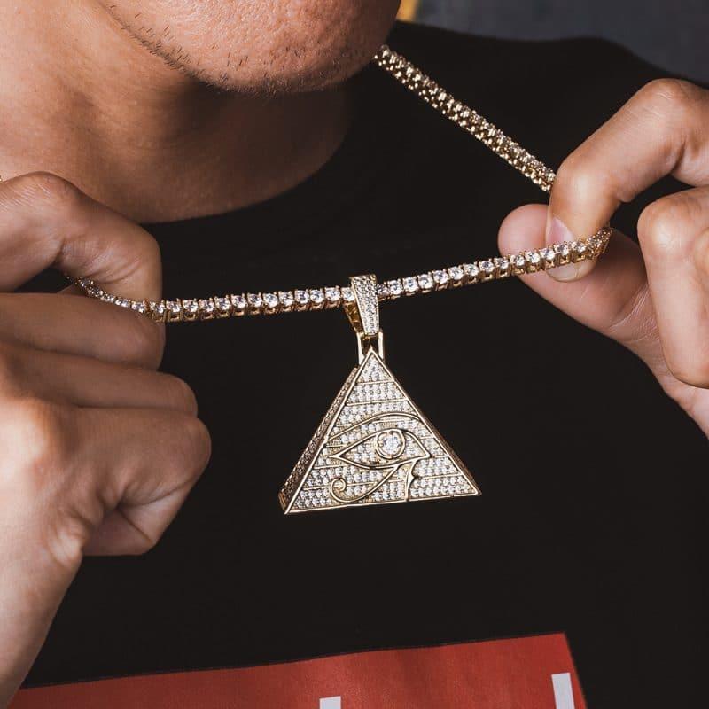 Eye of Horus Bling Pendant in 14k Gold 3