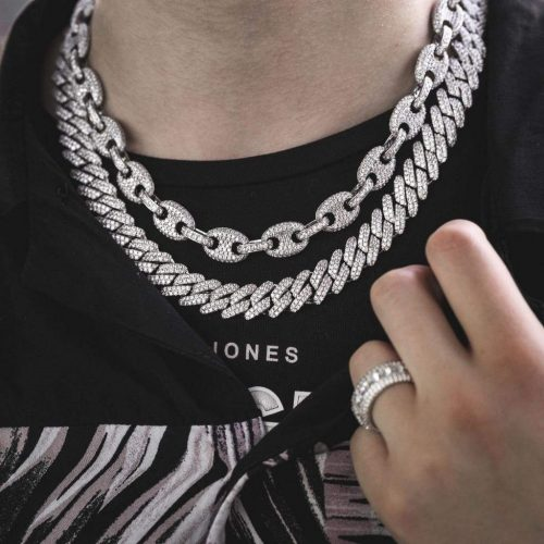 Iced Gucci Link Necklace in White Gold-Harlex-Harlex