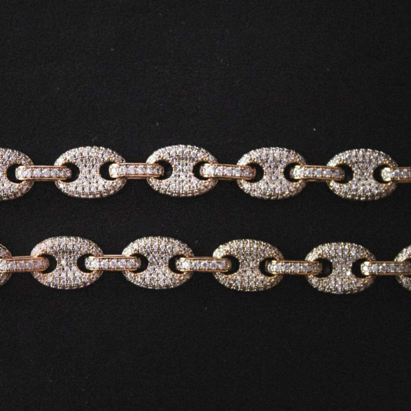 Iced Gucci Link Necklace in Yellow Gold-Harlex-Harlex