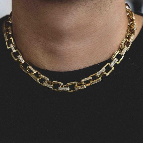 Iced Hermes Link Necklace in 18k Gold-Harlex-Harlex