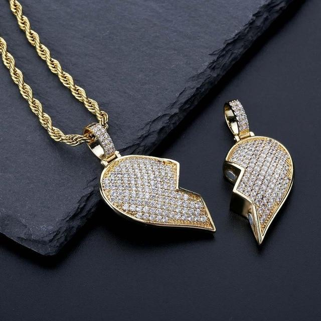 Iced Out Broken Heart Magnetic Pendant-Harlex-18k Gold-Cuban Chain-18inch-Harlex