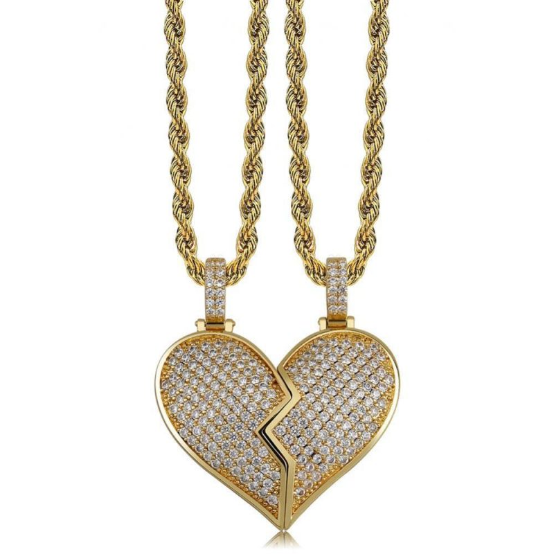 Iced Out Broken Heart Magnetic Pendant-Harlex-Harlex