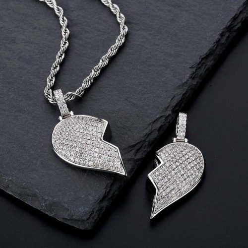 Iced Out Broken Heart Magnetic Pendant-Harlex-White Gold-Cuban Chain-18inch-Harlex