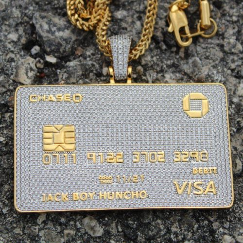 Iced Out Credit Card Pendant Necklace-Harlex-Harlex