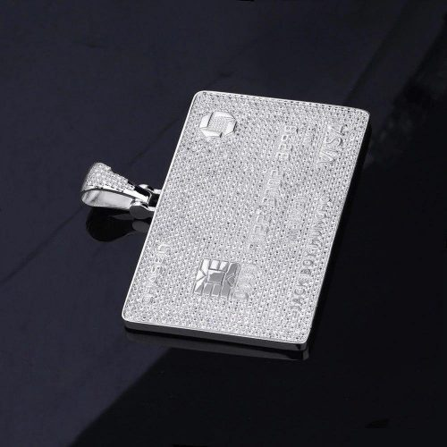 Iced Out Credit Card Pendant Necklace-Harlex-White Gold-Rope Chain-18