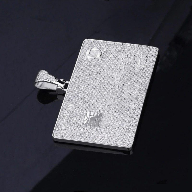 "Iced Out Credit Card Pendant Necklace-Harlex-White Gold-Rope Chain-18""-Harlex"