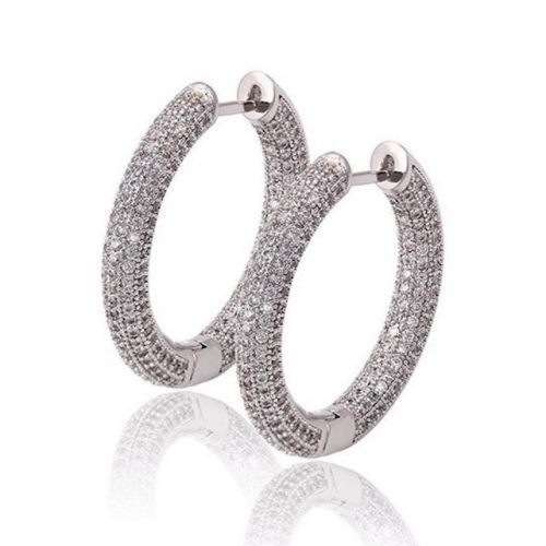 Iced Out Hoop Earrings (Pair)-Harlex-Harlex