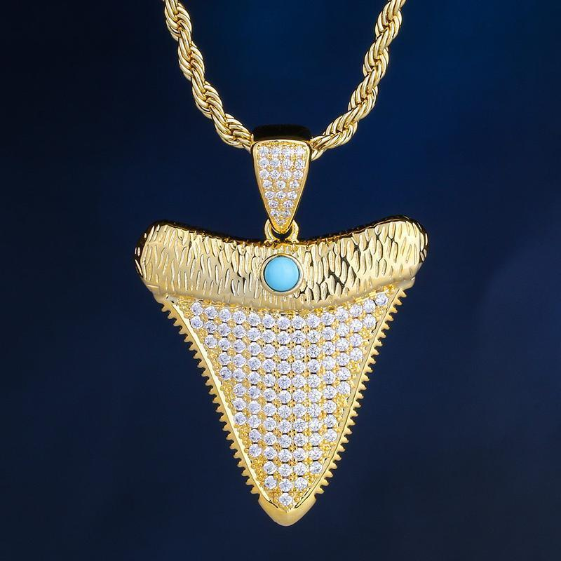 iced out shark tooth pendant in 18k gold made to order harlex gold 3