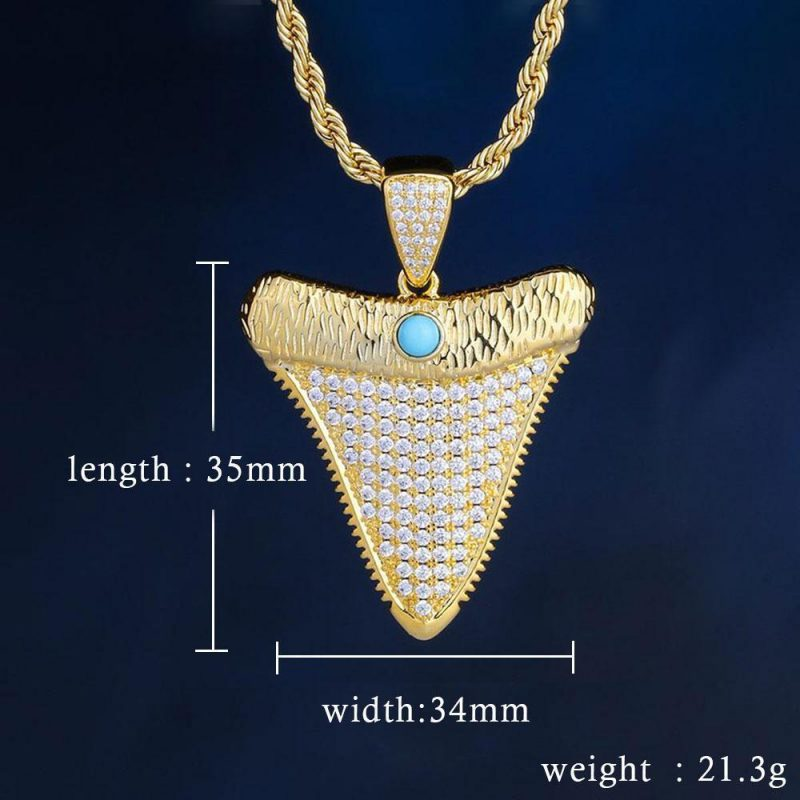 iced out shark tooth pendant in 18k gold made to order harlex gold 4