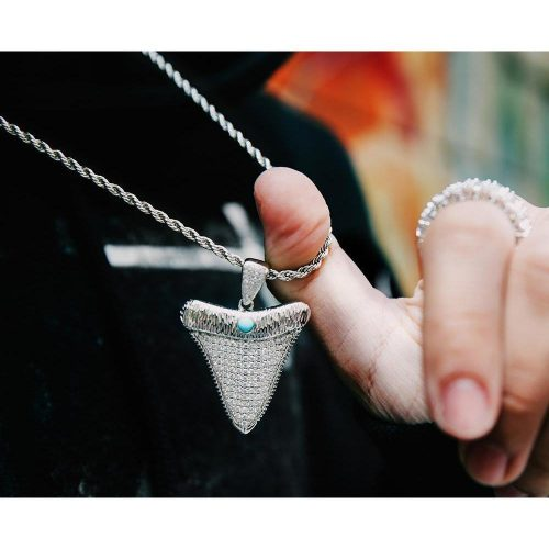 Iced Out Shark Tooth Pendant in White Gold [MADE TO ORDER]-Harlex-Harlex