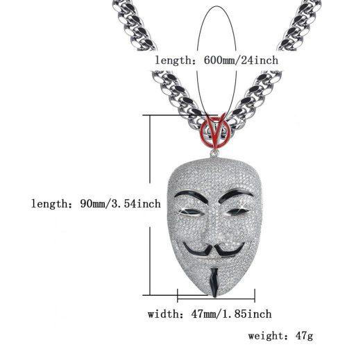 Iced Out V for Vendetta Inspired Mask Pendant in White Gold-Harlex-Harlex