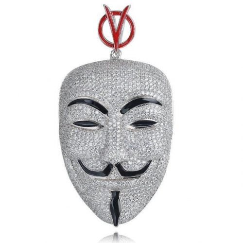 Iced Out V for Vendetta Inspired Mask Pendant in White Gold-Harlex-Cuban Chain-18inch-Harlex
