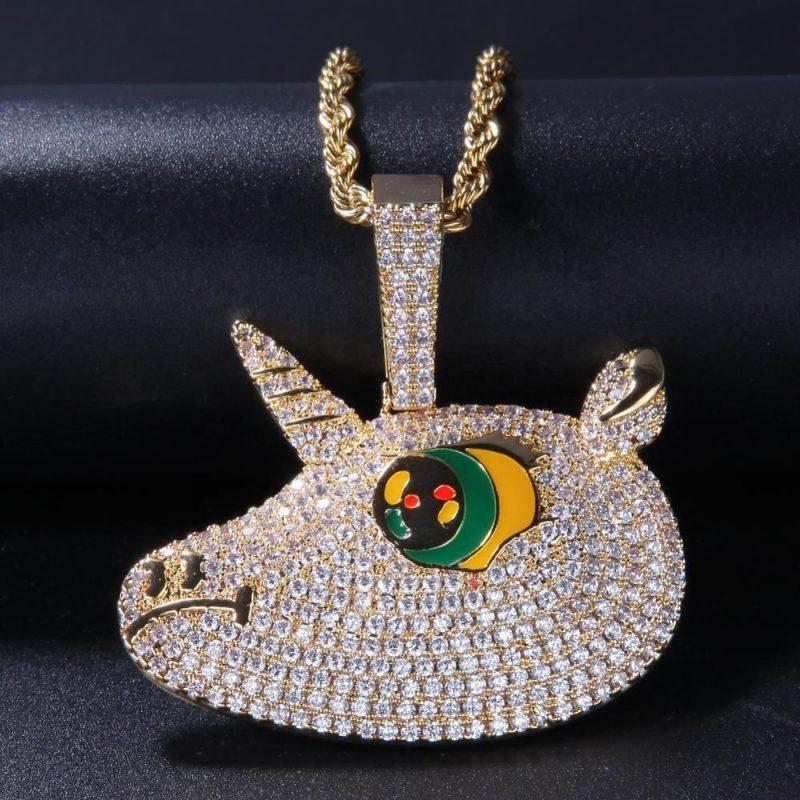 Iced Unicorn Pendant Necklace-Harlex-Harlex