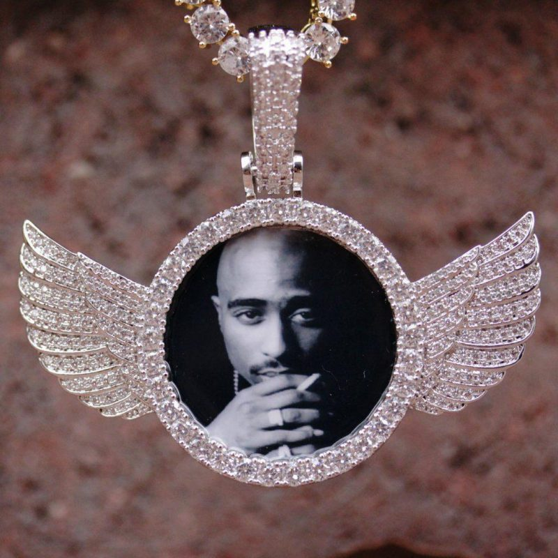 iced wings custom picture pendant harlex gold 3