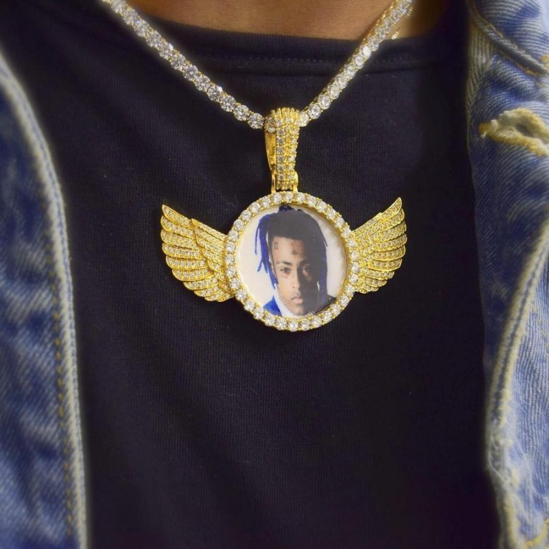 iced wings custom picture pendant harlex gold 5