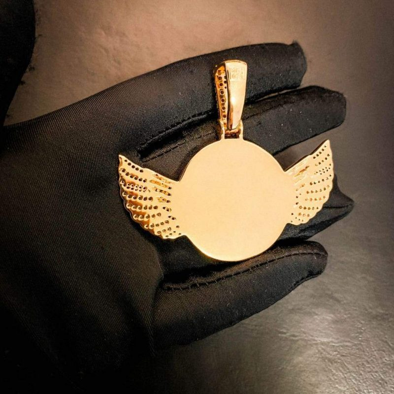 iced wings custom picture pendant harlex gold 6