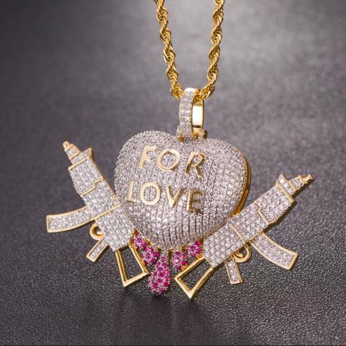 iced out drippin heart gun pendant harlex gold 1